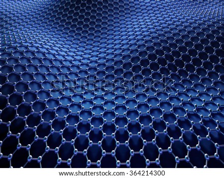 Several molecules connected, crystallized in the hexagonal system, concept of a carbon structure. Clipping path included. - stock photo