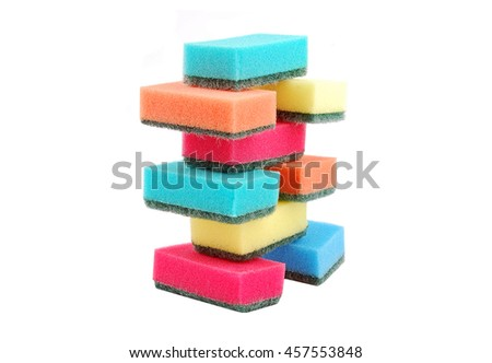 Several multicolor kitchen sponges for ware washing  - stock photo