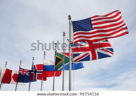 Several national flags waving - stock photo