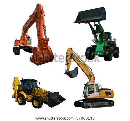 Several new excavator isolated on pure white - stock photo