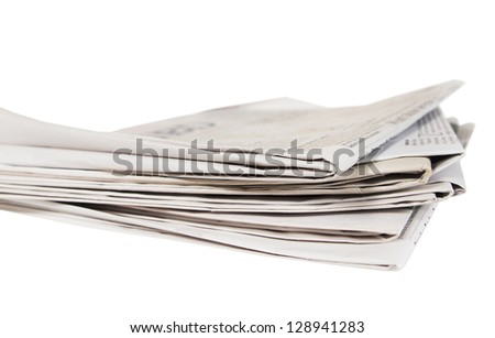 Several newspapers on a white background