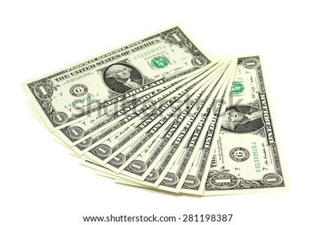several notes in one US dollar on a white background