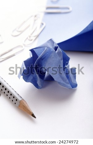 several office utensils on table - stock photo