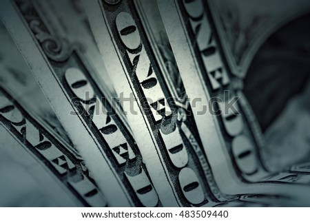 Several one dollar banknotes, background. Toned