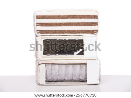 Several orthopedic mattress isolated over white background. - stock photo