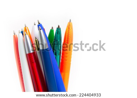 several pens for write letter documents