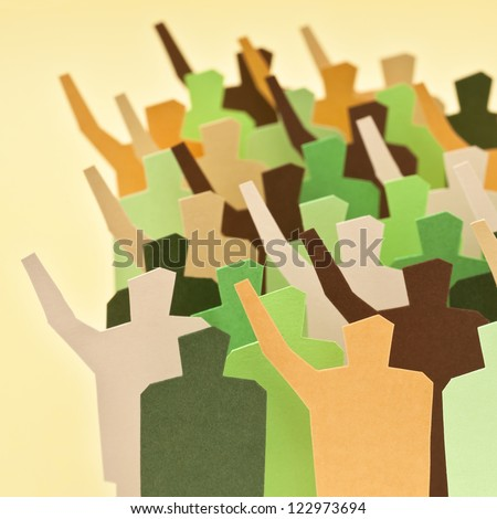 Several people of two mixed groups showing different opinions. - stock photo