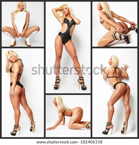 Several pictures of a muscled young blonde - stock photo