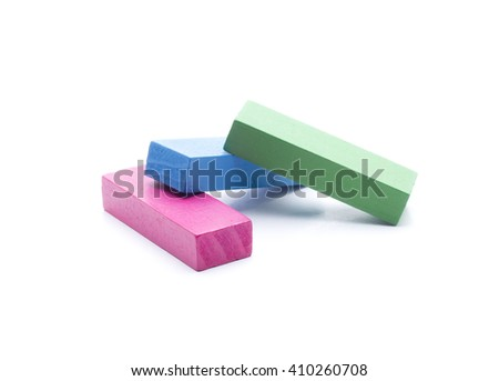 several pieces of different colors, for mounting different forms - stock photo