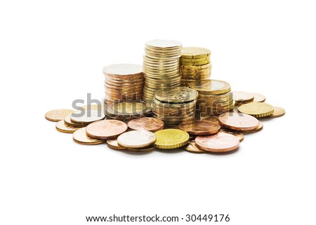 Several piles of coins isolated on white background