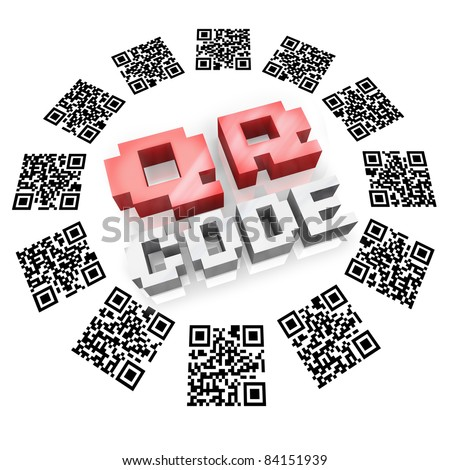Several QR barcode square icons in a round pattern around the word QR Code representing new technology for you to gather information on products and services using devices like a smart phone - stock photo