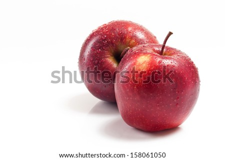 Several red apples on white background - stock photo