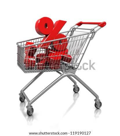 Several red percent in shop cart, 3d image