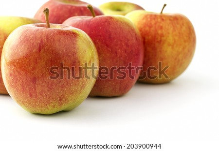 Several ripe braeburn apples - stock photo