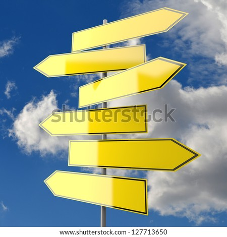 Several Road Signs Yellow Blank with Blue Sky Background - stock photo