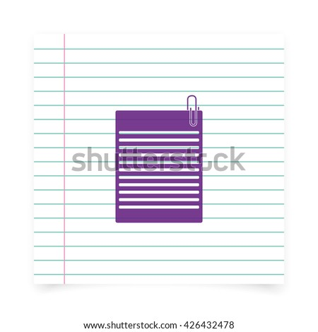 Several sheets of paper and a metal paper clip. - stock photo