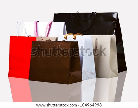 Several shopping bags on white.