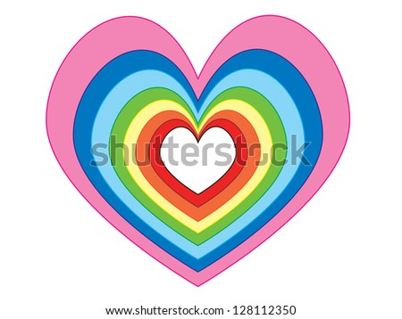 Several size and color of hearts at same position - stock photo
