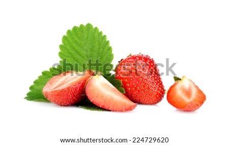 Several sliced strawberries with leaf isolated on a white background - stock photo