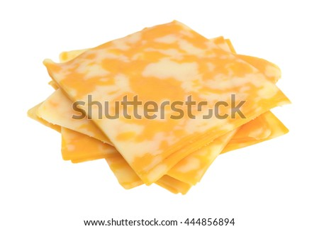 Several slices of Colby-Jack cheese in a stack isolated on a white background.