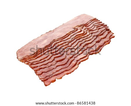 Several slices of turkey bacon on a white background. - stock photo