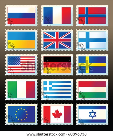 several stamps with state flags. Raster Version