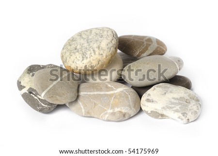 Several stones isolated over white - stock photo