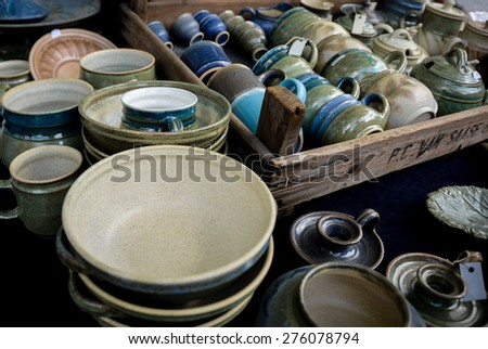several types of clay pottery pots - stock photo