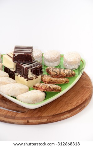 Several types of cookies on a plate. - stock photo