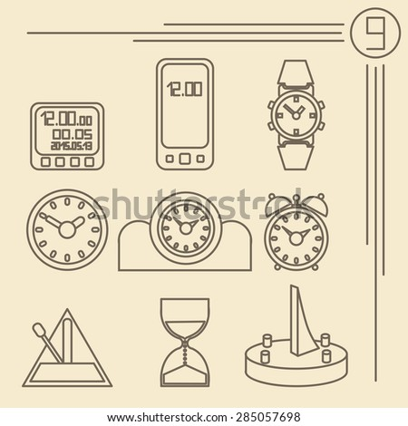Several variants of abstract watch dials. - stock photo