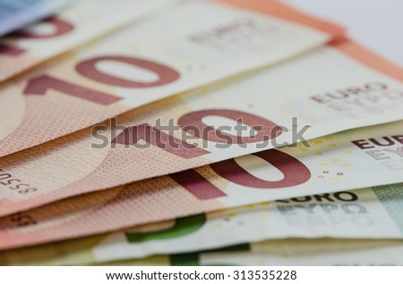 several various colorful banknotes money