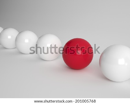 Several white ballls and one red one lined up on white background