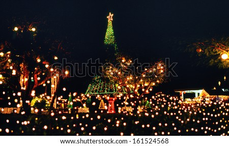 Several white, red and green holiday lights. - stock photo