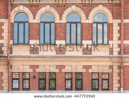 Several Windows In A Row On Facade Of Urban Apartment Building Front View,  St. Part 46