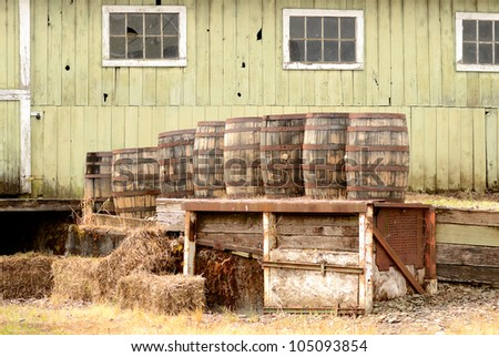 Several wine barrels on a loading dock at a Oregon winery and brewery