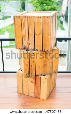 Several wooden crates - stock photo