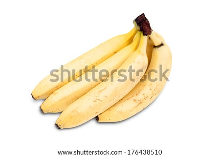Several yellow bananas isolated on white background. - stock photo
