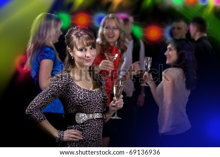 Several young people at party. The indoor shoot - stock photo