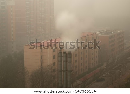 Severe air pollution in Beijing - China - stock photo
