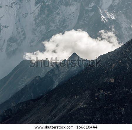 Severe peaks in the Everest region. View from Kala Patthar (5600 m) - Everest region, Nepal, Himalayas - stock photo