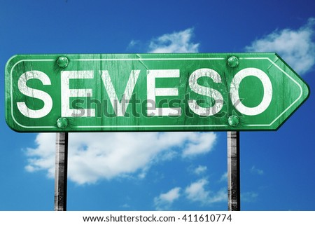 Seveso road sign, 3D rendering, vintage green with clouds backgr
