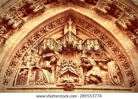 Sevilla in Andalusia, Spain. Cathedral - nativity scene. UNESCO World Heritage Site. Filtered color tone. - stock photo