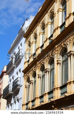 Sevilla in Andalusia, Spain. Old residential building. - stock photo
