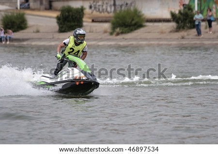 SEVILLA - MAY 27: Participants in the Spanish Championship of JetBoats on May 27, 2006 in the Guadalquivir River, Sevilla, Spain