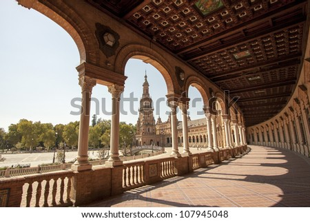 Sevilla's Spain square - stock photo