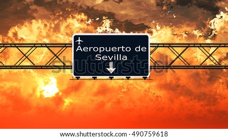 Sevilla Spain Airport Highway Sign in an Amazing Sunset Sunrise 3D Illustration
