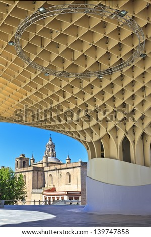 SEVILLA,SPAIN -MAY 02 : Metropol Parasol in Plaza de la Encarnacion on MAY 02, 2013 in Sevilla, Spain. J. Mayer H. architects, it is made from bonded timber with a polyurethane coating. - stock photo