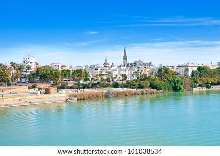 Sevilla view from Triana, river Guadalquivir, Spain - stock photo