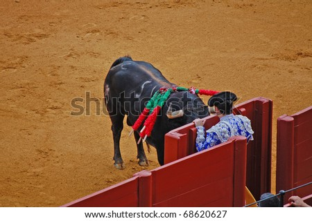 SEVILLE - APRIL 30:  A bull crashes into a gate as the torero seeks shelter during a bullfight for a sold out crowd at the Plaza de Toros de Sevilla April 30, 2009 in Seville, Spain.
