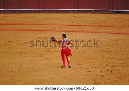 "SEVILLE - APRIL 30:  Bullfighter David Fandila ""El Fandi"" acknowledges the sold out crowd before he goes in for the kill at the Plaza de Toros de Sevilla April 30, 2009 in Seville, Spain."